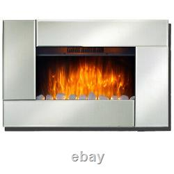 Electric Wall Fire Fireplace Mounted Stylish Mirror Glass Flicker Flame Heater