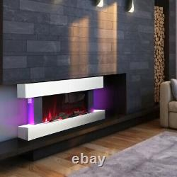 Electric Wall Mounted Fire Large LED Fireplace White Suite Modern Heater 7 Flame