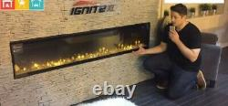Electric fire ignite 50 wide edge to edge glass, wall hung or wall inserted