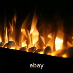 Ezee Glow Grand Zara Black Wall Mounted or Recessed / Built In Electric Fire