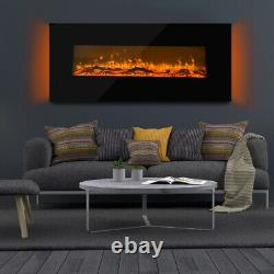 Fireplace Wall Mounted Electric Fire Black Flat Glass with Remote Control UK