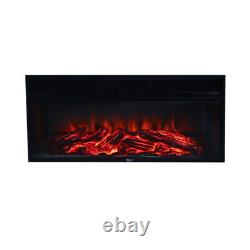 Free Standing Electric Led Fireplace White Surround Fire Log Flame Heater 34 in