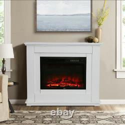 Free Standing Electric Led Fireplace White Surround Fire Log Flame Heater Living