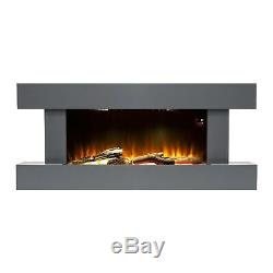 Grey 2kW Electric Fireplace Suite with Wooden Surround Remote Control LED Flame