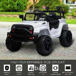 HOMCOM 12V Kids Electric Ride On Car Truck Off-road Toy with Remote Control White