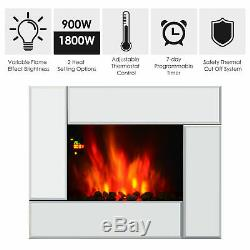 HOMCOM Electric Fireplace Heater Wall Mount With Remote Control Flame Effect