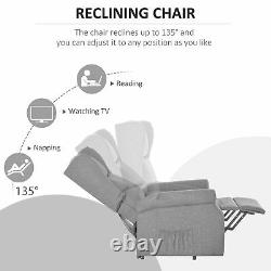HOMCOM Electric Rise Linen Fabric Recliner Armchair Power with Remote Control Grey