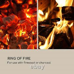 Heater Electric Fireplace Modern Fire Flame Fan 80x31 cm Classic Design Stone