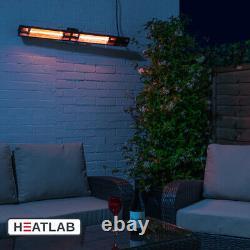 Heatlab Electric Patio Heater Wall Mounted w Remote Control Black 3kW IP44