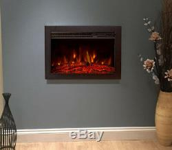 Hole In The Wall Hung Mounted Modern Inset Insert Fireplace Logs Electric Fire