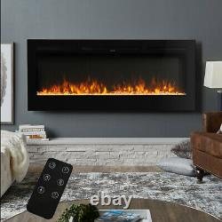 Insert/Wall Mounted 40inch Electric Fireplace LED Flame Fire Heater Crystals/Log