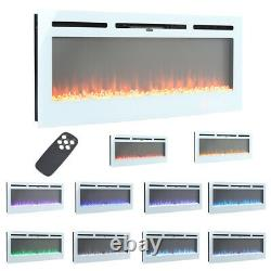 LED Electric Wall Mounted Recessed Fireplace 50 60 Inch Fire Heater Remote Flame