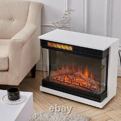 Large Fireplace Heater Electric Free Standing Fire Place MDF Surround With Wheel