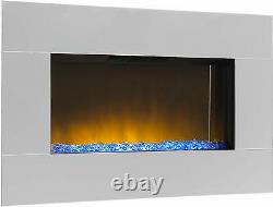 Large Mirrored Chrome LED Wall Mounted Electric Fireplace Diamond Effect Bed NEW