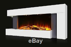 Large Wall Mounted Electric Fire White Home Decor Wooden Logs Flicker Flame
