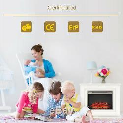 Luxury 1800W Electric Fireplace Suite with Suround LED Fire Log Burning Flame