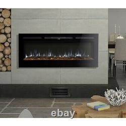 Modern 50 60 Electric Fireplace Mounted Inset/Wall Fire Log & Crystal Fuel Bed