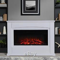 Modern Electric Fire Surround Complete Fireplace With LED Light & Remote Control
