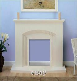 Modern Remote Control Inset Electric Fire Surround Set Complete Fireplace, Cream