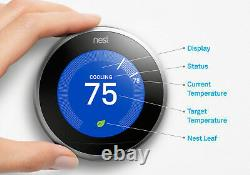 Nest Learning Thermostat 3rd Gen Stainless Smart Home T3007ES Silver New