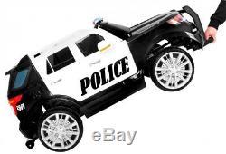 POLICE CAR JEEP SUV KIDS RIDE ON REMOTE CONTROL ELECTRIC CAR megaphone