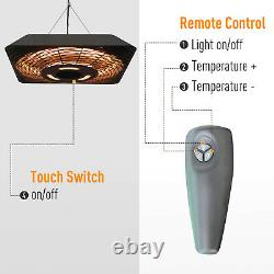 Patio Electric Hanging Ceiling Heater 2000W Halogen with Remote Control Aluminium