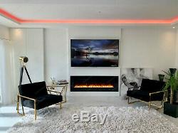 Pre Order 50 Inch Led White Glass Wall Mounted Flushed Electric Fire 2020 Model