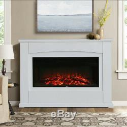 Recessed Mounted Electric Fireplace Core Insert Wall Fires Black Panel with Remote