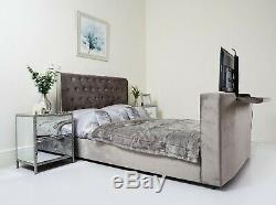 TV Bed Electric Remote Control Lift Up Black Grey Soft Crushed Velvet Headboard
