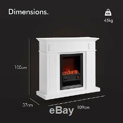 VonHaus 2KW Fireplace Suite/ Electric Stove with Wall Surround 24hr Timer Remote
