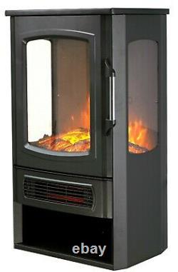 VonHaus Panoramic Stove Heater with Log Storage, Remote Control & 2 Heat Settings