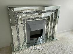 WFS Homeware 2 Tier Diamond Crushed Mirrored Electric Fireplace 140cm- Damaged