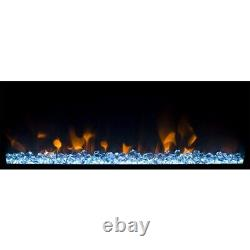 Wall Mounted Electric Fire in Black with Logs & Crystal Fuel Beds