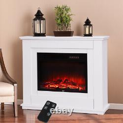 White Electric Fire Fireplace Set Floor Free Standing Surround Led Light 30 inch