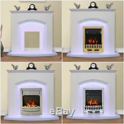 White Flat Wall 2KW Electric Fire Surround Set Complete Fireplace with LED Light