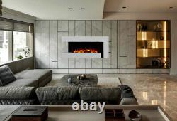 White Gloss Wall Mounted Fireplace Suite Electric Fire Home Decor Flicker Flame