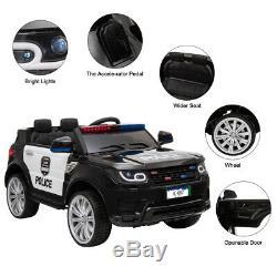 12v Électrique Kid Ride On Voiture De Police Sirène 2.4g Ouverture Des Portes Latérales Télécommande