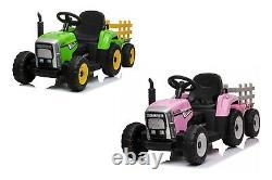 12v Tracteur Électrique Pour Enfants Avec Remorque Et Télécommande Parentale