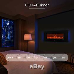 1400w Mural Foyer Électrique Cristal Flamme + Télécommande Led De Contrôle Rétro-éclairé