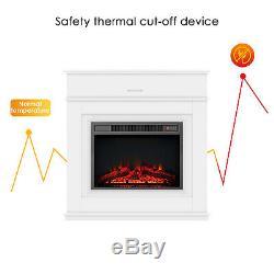 1800w Électrique Cheminée Led Suite Log Fire Burning Flame Mdf Surround Cabinet