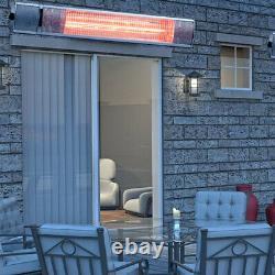 1-3kw Chauffage Électrique Patio Infrarouge Mur Extérieur De Jardin Monté À Distance 3 Niveaux