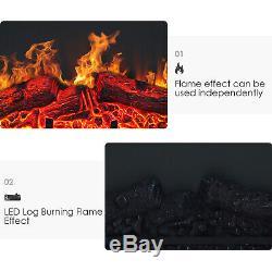 1.8kw Électrique Cheminée Led Suite Log Fire Burning Flame Mdf Surround Cabinet