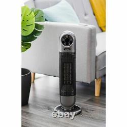 2000w Électrique 90° Céramique Oscillant Ventilateur De Tour Ptc À Distance Minuterie Numérique