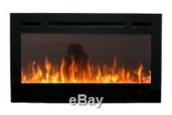 2019 36 Pouces Large Led Flames Truflame En Verre Noir Applique Murale Électrique Feu