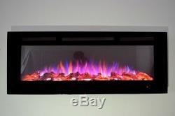 2019 50 Pouces Large Led Flames En Verre Noir Truflame Murale Électrique Feu