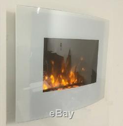 2019 Truflame 7 Couleur Led En Verre Blanc Arquéesles Mur Électrique Monté 66cm Incendie