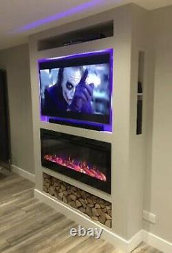 2020 50 Pouces Large Led Flames Truflame En Verre Noir Applique Murale Électrique Feu