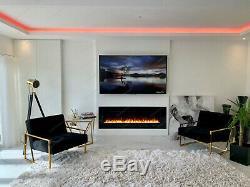 2020 60 Pouces Large Led Blanc / Noir Verre Mur Flushed Feu Électrique 10 Couleurs