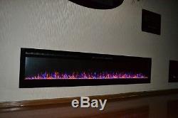 2020 72 Pouces Large Led Flames Truflame En Verre Noir Applique Murale Électrique Feu