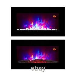 2020 Truflame 7 Couleur Led Black Glass Flat Electric Wall Mounted Fire